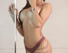 La argentina tatuada Belen Lavallen mojada y desnuda (20)
